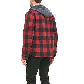 Men's G.H. Bass Plaid Wool-Blend Hooded Workwear Shirt Jacket