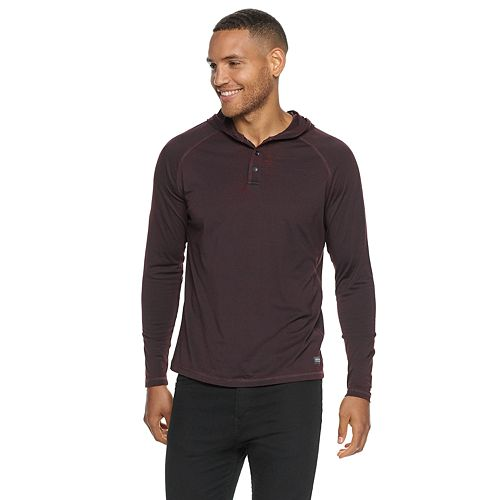Men's Heritage Burn Out Henley Hooded Sweatshirt