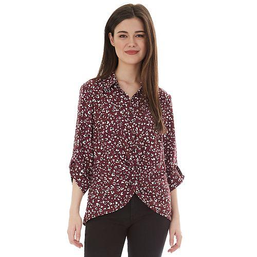 Juniors' IZ Byer Twisted Hem Long Sleeve Button Up Shirt
