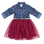 Baby Girl Little Lass Floral Chambray Tulle Dress