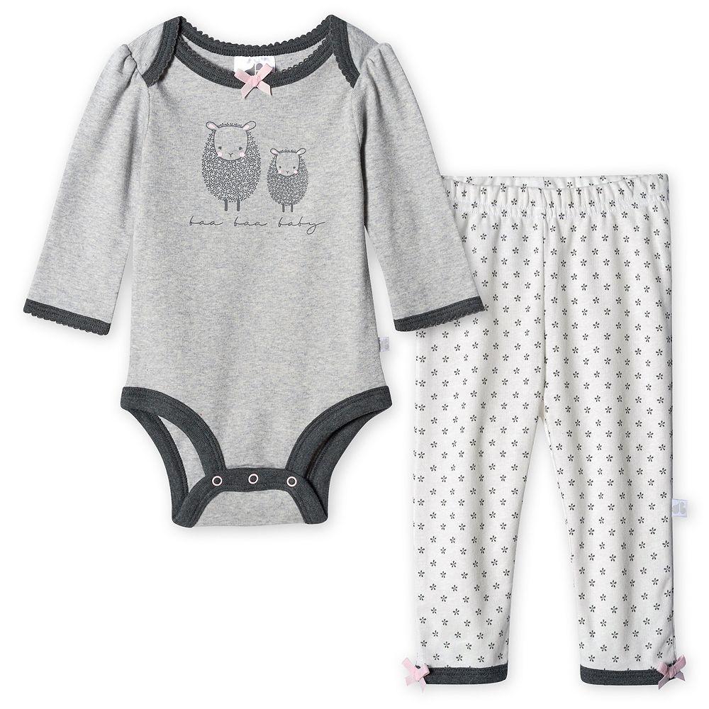 Baby Girl Just Born® Lil' Lamb Organic Bodysuit and Pant Set