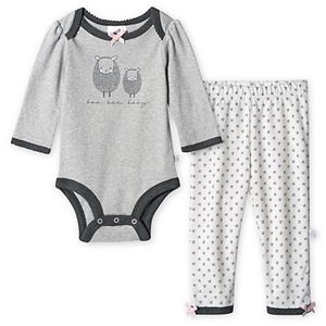 Baby Girl Just Born Lil' Lamb Organic Bodysuit and Pant Set