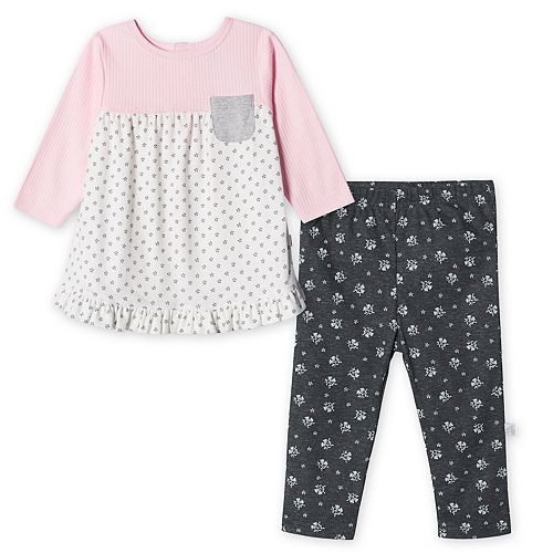 Baby Girl Just Born Lil' Lamb Organic 2-Piece Top & Pant Set