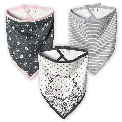 Baby Girl Just Born Lil' Lamb 3-Pack Organic Handkerchief Bibs