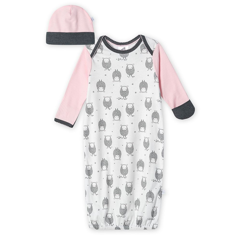 Baby Girl Just Born Lil' Lamb Organic Gown & Cap Set