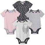 Baby Girl Just Born Lil' Lamb 4-Pack Organic Short Sleeve Bodysuits