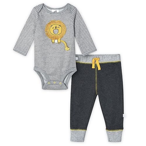 Baby Boy Just Born Lil' Lion 2-piece Organic Bodysuit & Pant Set