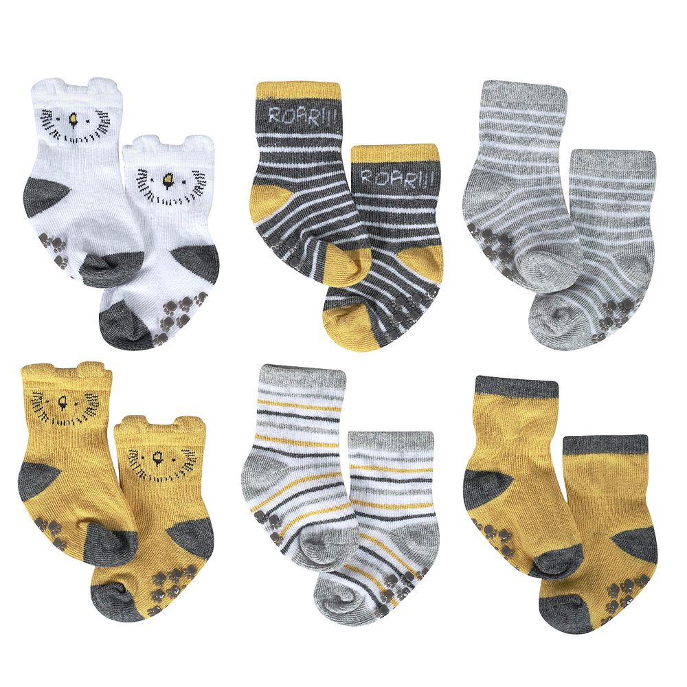 Baby Boy Just Born 6-Pack Lil' Lion Wiggle Proof Socks
