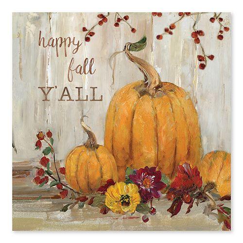 Artissimo Pumpkin Happy Fall Canvas Wall Decor