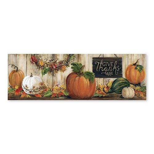 Artissimo Give Thanks Pumpkin Canvas Wall Decor