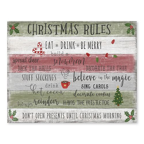 Artissimo Christmas Rules Canvas Wall Decor
