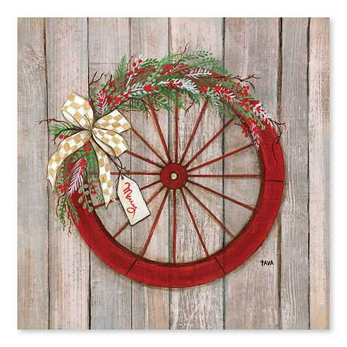 Artissimo Christmas Wheel Canvas Wall Decor