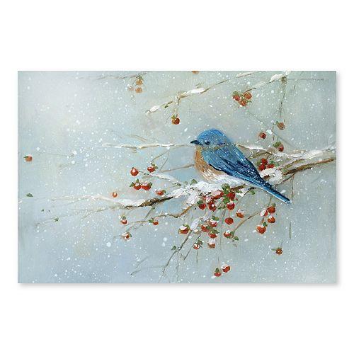Artissimo Blue Bird Winter Canvas Wall Decor