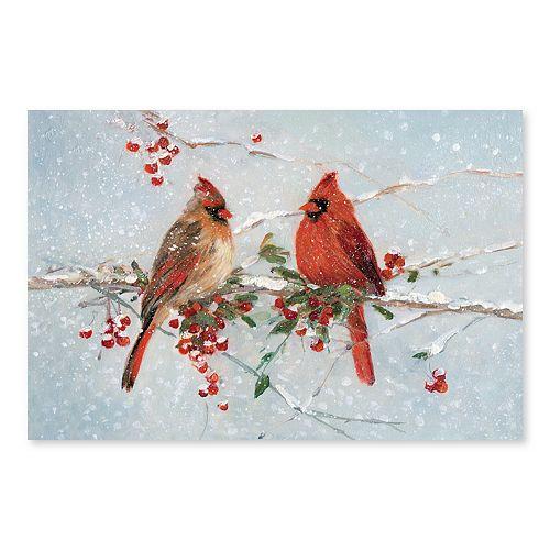 Artissimo Cardinals Winter Canvas Wall Decor