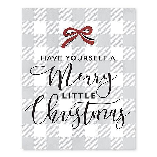 Artissimo Have Yourself A Merry Christmas Plaid Canvas Wall Decor