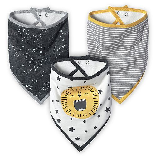 Baby Boy Just Born Lil' Lion 3-Pack Organic Handkerchief Bibs