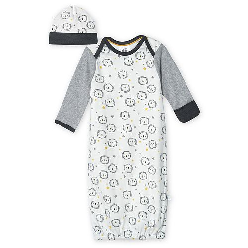 Baby Boy Just Born Lil' Lion Organic Gown with Cap