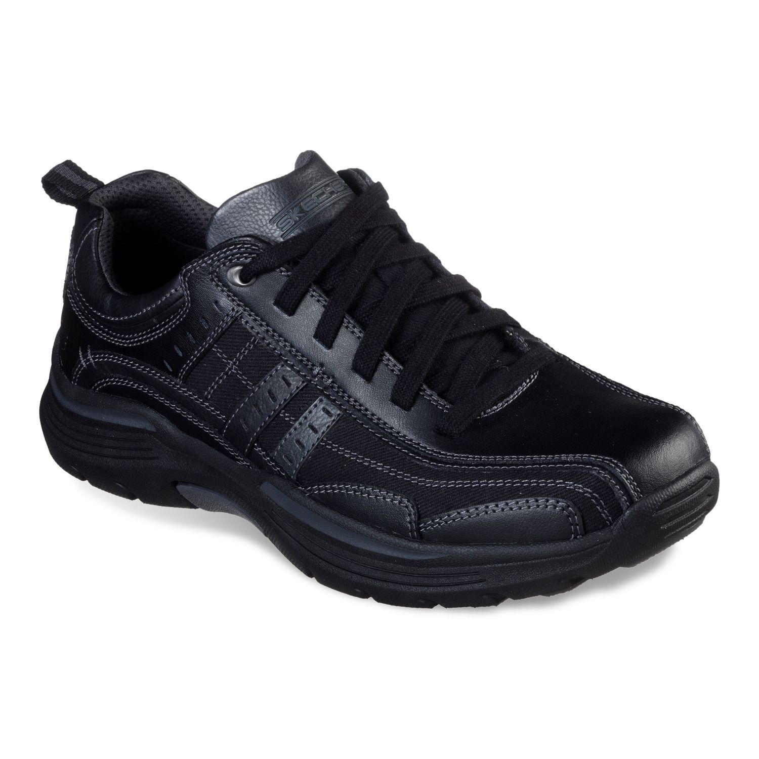 skechers relaxed fit levoy men's shoes black
