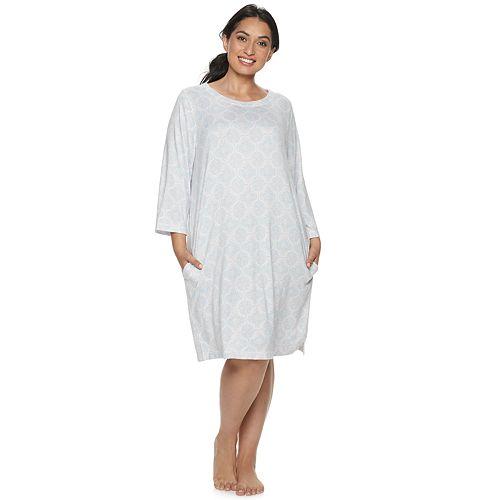 Plus Size Croft & Barrow® Whisperluxe 3/4 Sleeve Sleepshirt