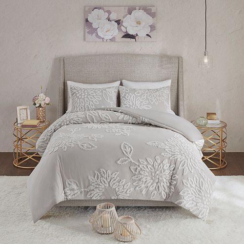 Madison Park Pansy 3-Piece Tufted Cotton Chenille Floral Comforter Set