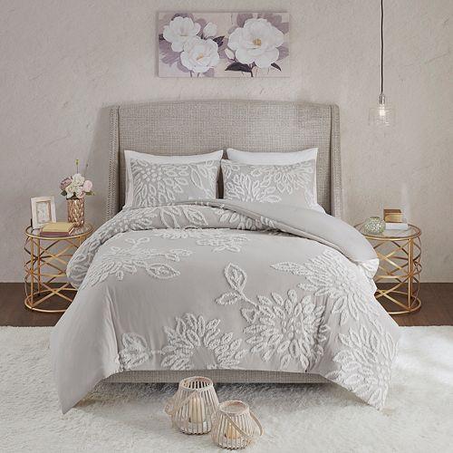Madison Park Pansy 3-Piece Tufted Cotton Chenille Floral Duvet Cover Set