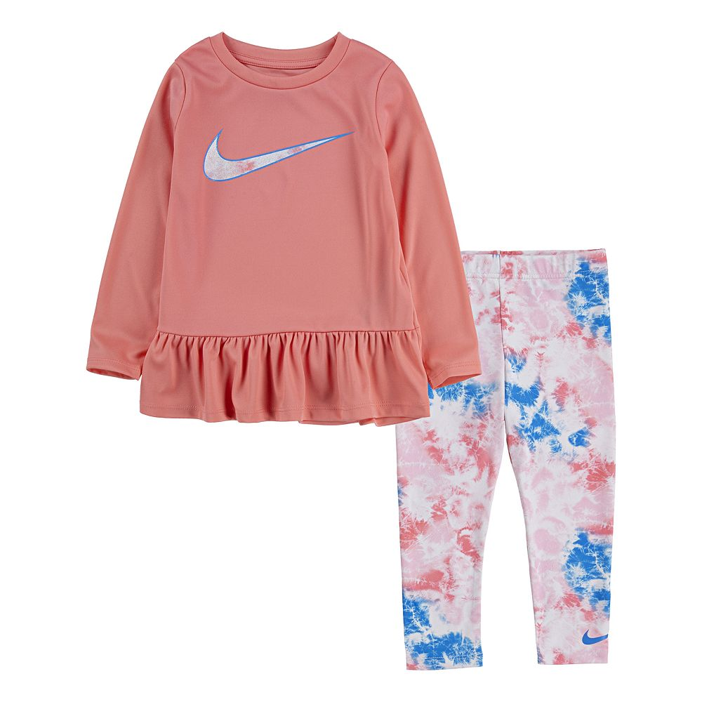 Toddler Girl Nike Dri-FIT Peplum Top & Leggings Set