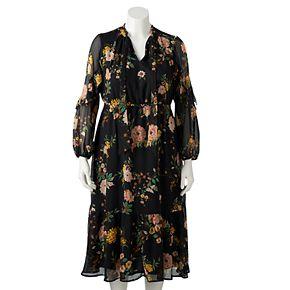 Plus Size LC Lauren Conrad Long Sleeve Ruffle Dress