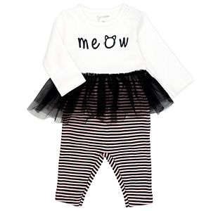Baby Girl Mac & Moon 2-Piece Long Sleeve Tutu Bodysuit and Striped Pants Set
