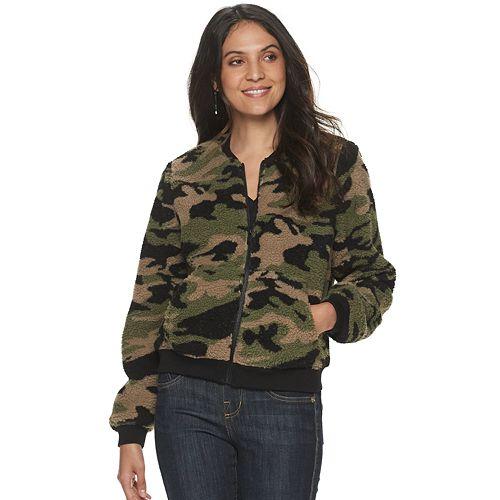 Women's Rock & Republic® Sherpa Camo Bomber Jacket