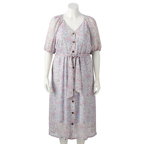 Plus Size LC Lauren Conrad Button Front Shirtdress