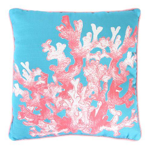 Jordan Manufacturing Printed Coral Decorative Throw Pillow