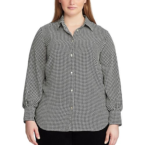 Women's Plus Size Chaps Checkered Button-Up Shirt