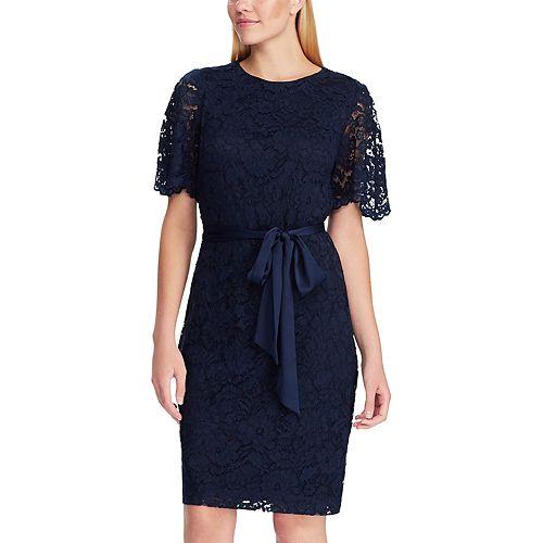 Women's Chaps Flutter Sleeve Lace Dress