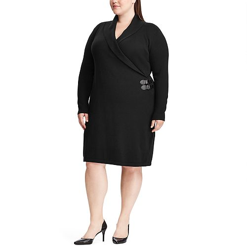 Plus Size Chaps Shawl-Collar Sweater Dress
