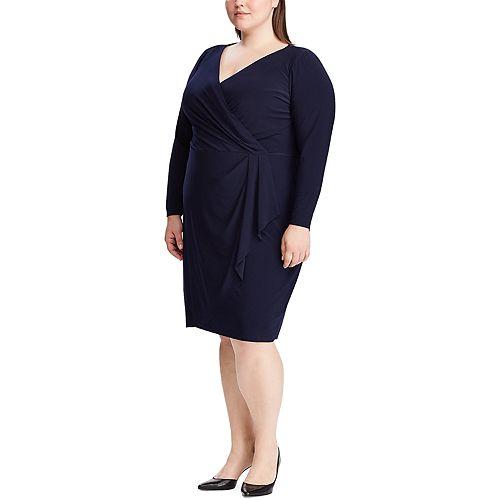 Plus Size Chaps Long Sleeve V Neck Dress