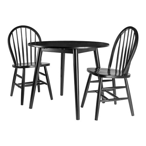 Winsome Moreno 3-Piece Drop Leaf Table with Windsor Chairs