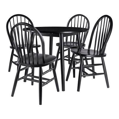 Winsome Moreno 5-Piece Drop Leaf Table Set with Windsor Chairs