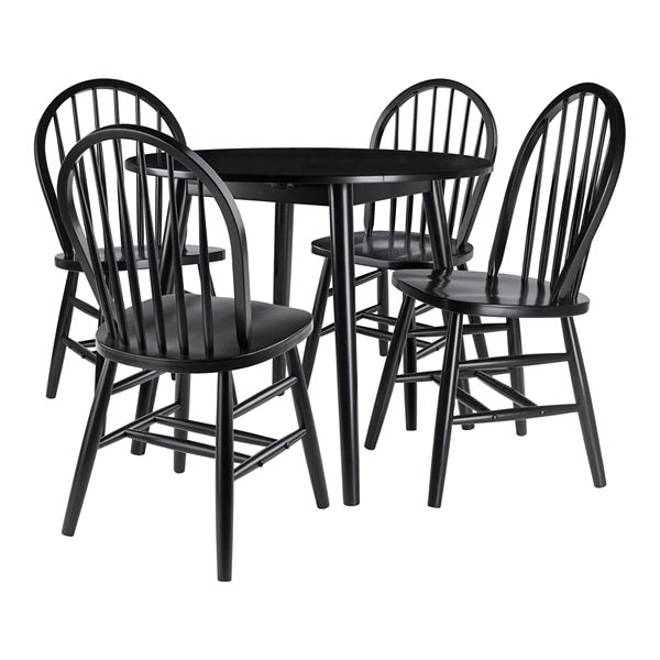 Silver Dining Table And Chairs, Winsome Moreno 5 Piece Drop Leaf Table Set With Windsor Chairs