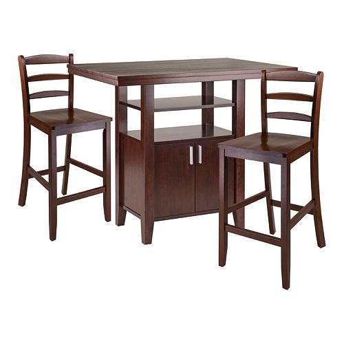 Winsome Albany 3-Piece High Table with Ladder Back Counter Stools Set