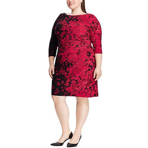 Plus Size Chaps Floral Gathered Shift Dress