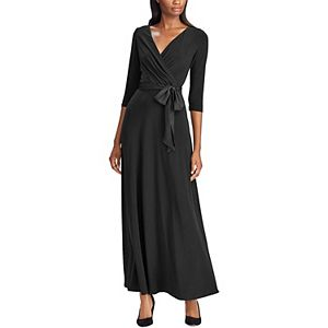 Women's Chaps Satin-Sash Surplice Evening Dress
