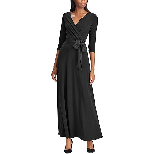 Women's Chaps Satin-Sash Surplice Evening Dress