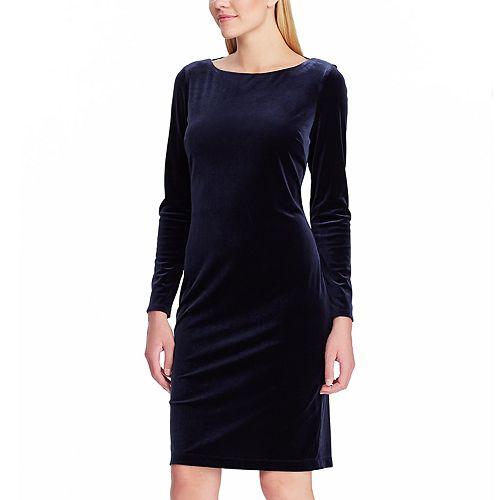 Women's Chaps Draped-Back Velvet Dress