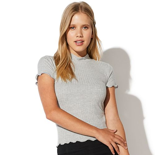 Juniors' Vylette™ Ribbed Mock Neck Top