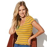 Juniors' Vylette? Ribbed Squareneck Top