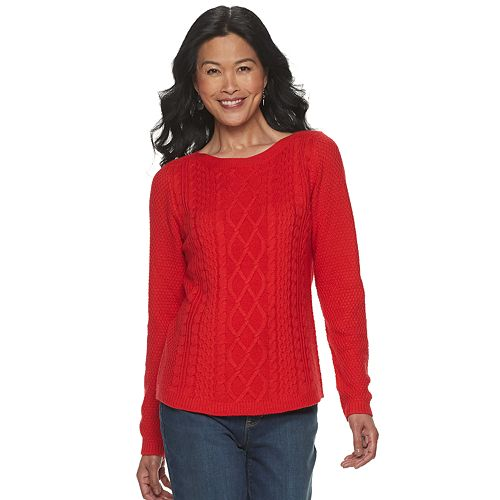 Women's Croft & Barrow® Cable Boat Neck Sweater