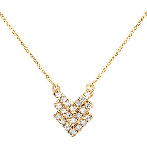 10k Gold 1/10 ct. T.W. Diamond Triple Chevron Pendant Necklace