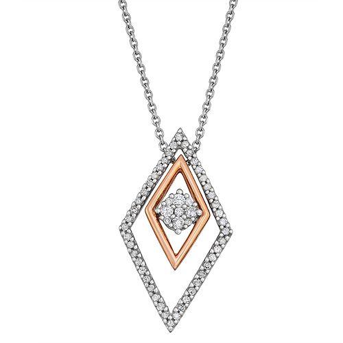 Two Tone 10k Gold 1/5 ct. T.W. Diamond Interchangeable Pendant Necklace