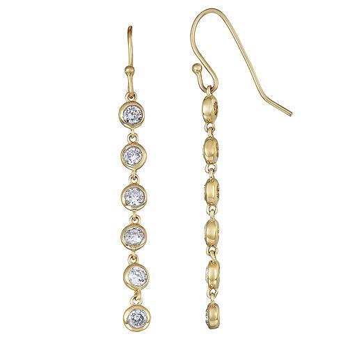 Sterling Silver Cubic Zirconia Linear Dangle Earrings