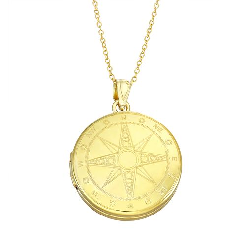 Sterling Silver Compass Locket Necklace